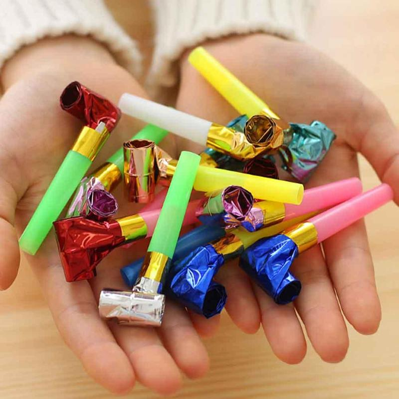 10pcs Small Colorful Funny Whistles Kids Childrens Birthday Party Blowout Toys Gift Party/ Birthday Party Cheer Props WED0870