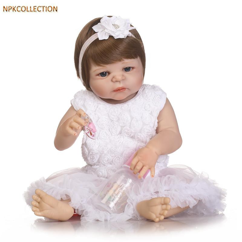 NPKCOLLECTION 52CM Silicone Reborn Dolls Baby Realistic Doll Reborn 21 Inch Full Silicone Dolls Reborn Baby Born Doll for Girls adora toddler doll soft silicone reborn baby doll cute 20 inch 52cm baby reborn for kids birthday giftbaby reborn