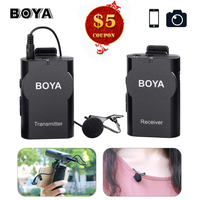 Boya BY WM4 Lavalier Wireless Microphone w Receiver Transmitter Studio Mic for Sony DSLR Camcorder DJI Osmo Mobile 2 Samsung S8