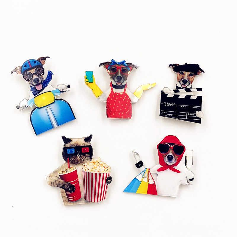 1Pcs Harajuku Fumetto Spille Animale Cane Spilla Acrilico Spille Distintivi E Simboli Icone sullo Zaino Medaglia Decorazione Badge per Abbigliamento