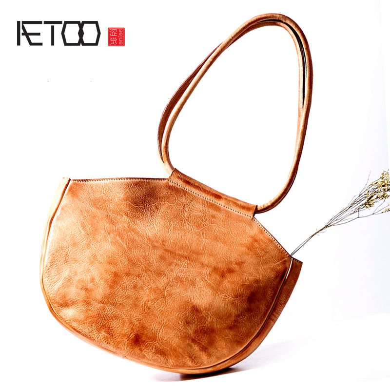 AETOO Original design leather handbag female bag fashion simple retro handmade first layer leather shoulder bag