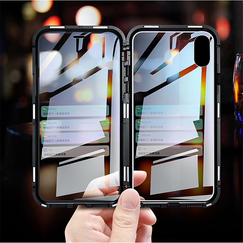VIP para iPhone XS MAX X XR 8 7 6 Plus 6s 11 11 Pro Max caso de doble cara funda con imán de vidrio Funda 7 Plus