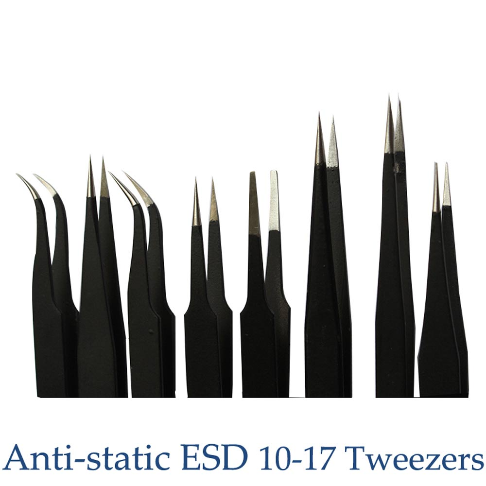 High Quality 8pcs Free Ship Anti-static ESD 10-17 Tweezers Set For Soldering Station Welding Assist Tools 8pcs/lot