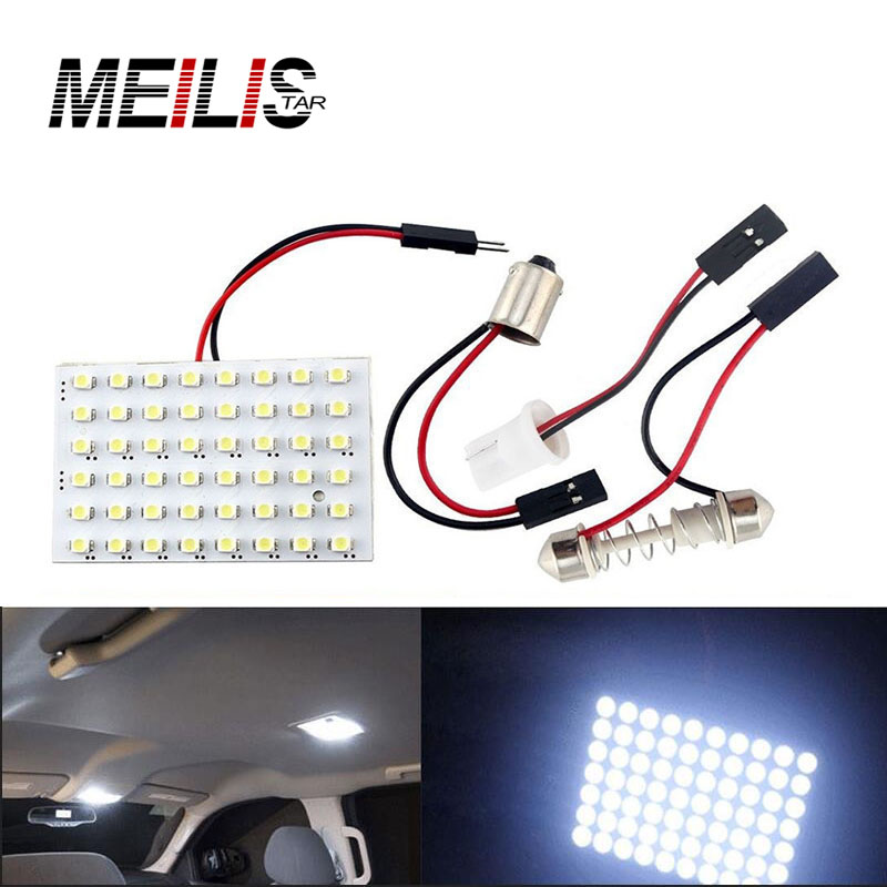 High Power T10 W5W C5W C10W Festoon  3 Adapters 48LED auto Panel lamp reading Lights Car interior map Dome light 12V Lamp Bulb 2pcs 12v 31mm 36mm 39mm 41mm canbus led auto festoon light error free interior doom lamp car styling for volvo bmw audi benz