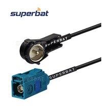 Superbat Audi/VW радио антенна адаптер Fakra Z Женский Джек прямой штекер iso правый угол RF косичка кабель RG174 60 см