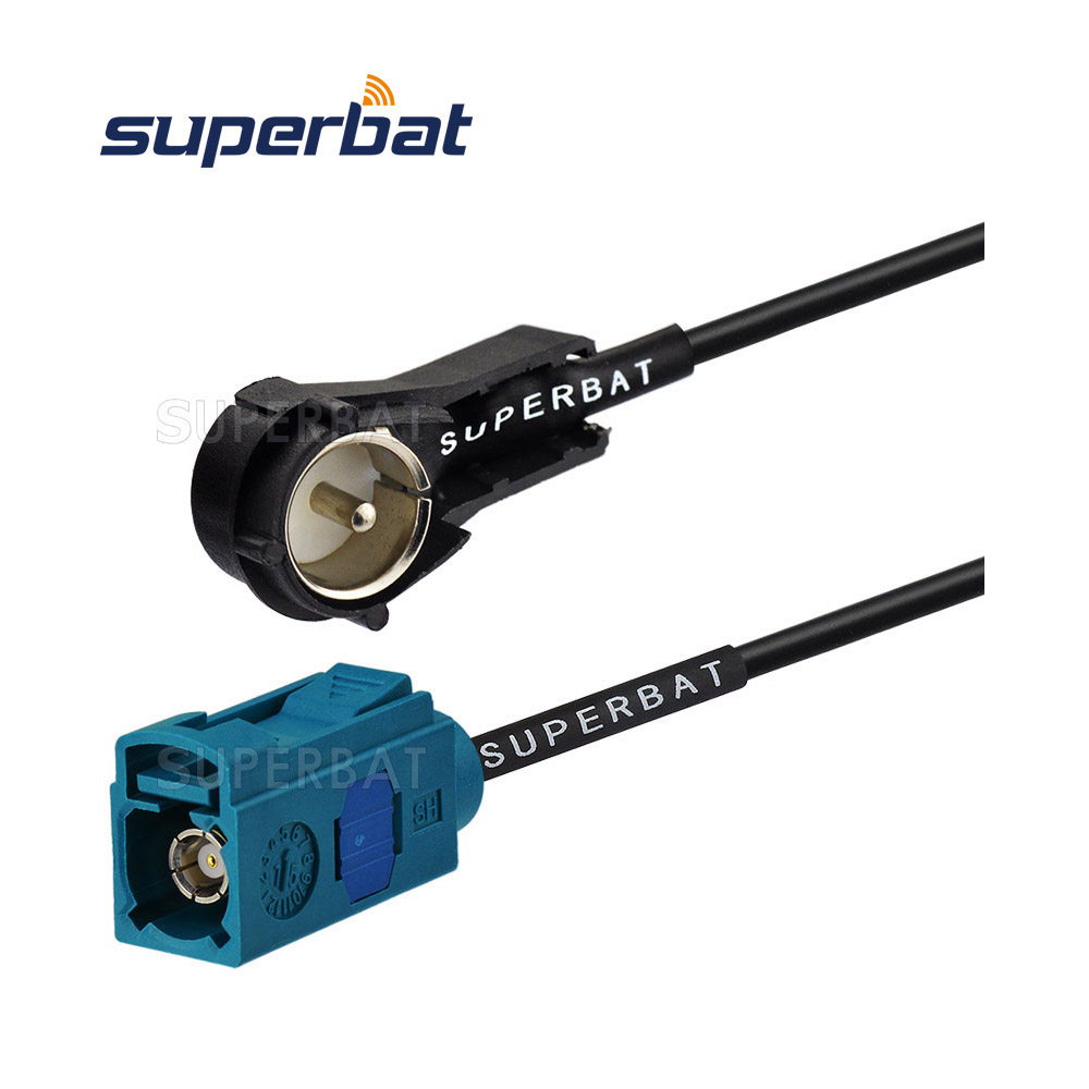 Superbat Audi / VW rádió antenna adapter Fakra Z női jack egyenesen az ISO aljzathoz, derékszögű RF pigtail kábel RG174 60cm