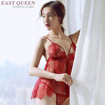 Novelty special use lingerie for sex see through nightgown women lace nightwear sexy sexy clothes for sex transparent  FF723 4