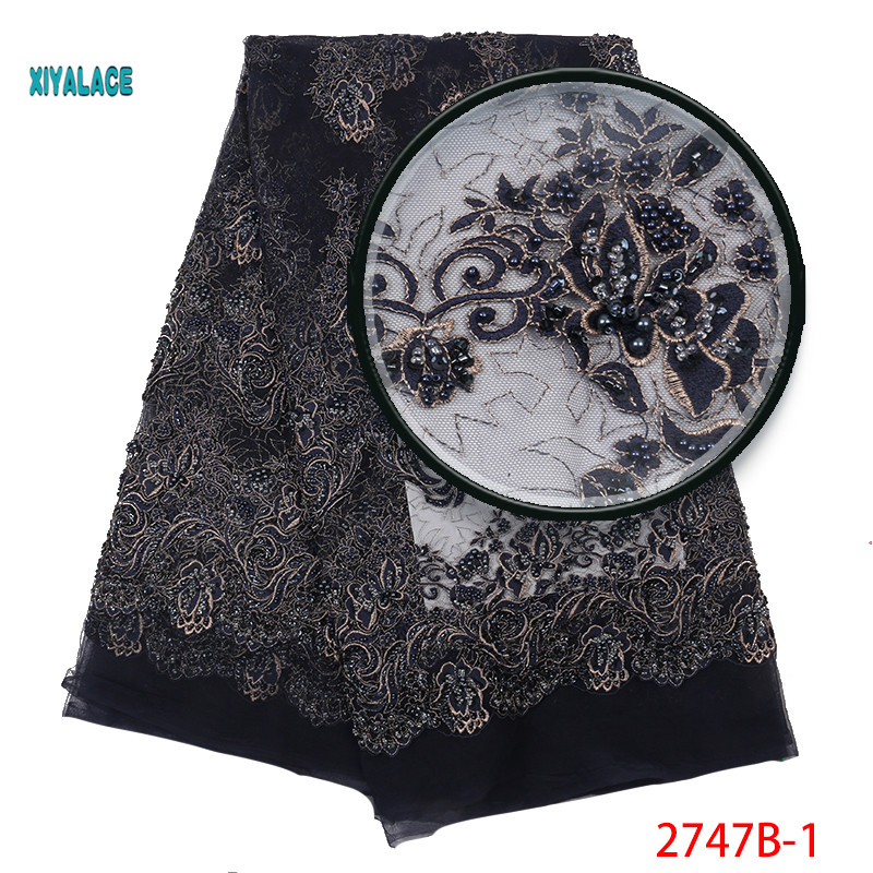 Handmade African Beaded Lace Fabric  Nigerian Laces Fabric 2019 High Quality Beads French Tulle Lace Fabric For Women YA2747B-1