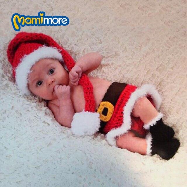 Bebé recién nacido de Navidad Santa Foto Fotografía Proposición de Punto de  Ganchillo Sombreros Encantadores Del 81b5382f873a