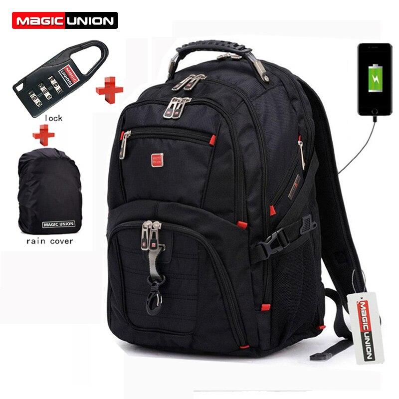 Magic union masculino sacos de viagem multifuncional mochila impermeável oxford portátil mochila para adolescente anti-roubo acampamento mochila