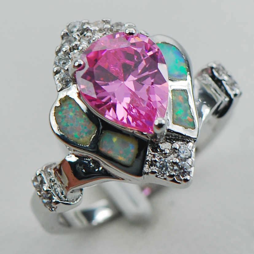 สีชมพูคริสตัลเพทายสีขาวโอปอลแหวนเงิน925สเตอร์ลิงขนาด6 7 8 9 10 R1261