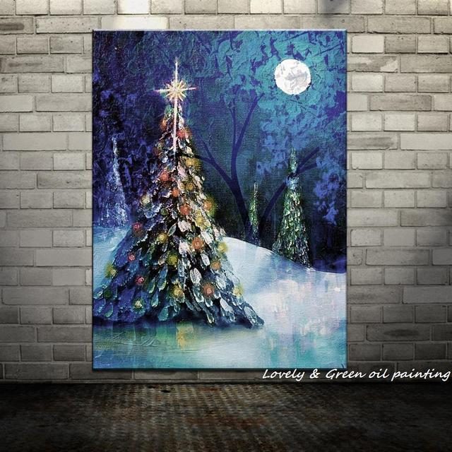 Handpainted Christmas Tree Modern Oil Paintings On Canvas Wall ...