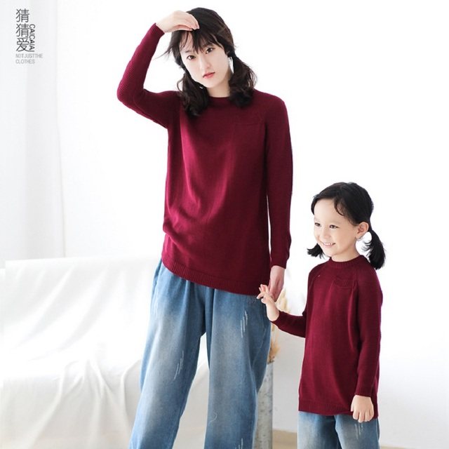 eb7980d0eccd 2017 Winter Family Matching Sweaters Children Pullovers Mum Mother and  Daughter Clothes Pajamas Red Mama Kids Girls Clothing