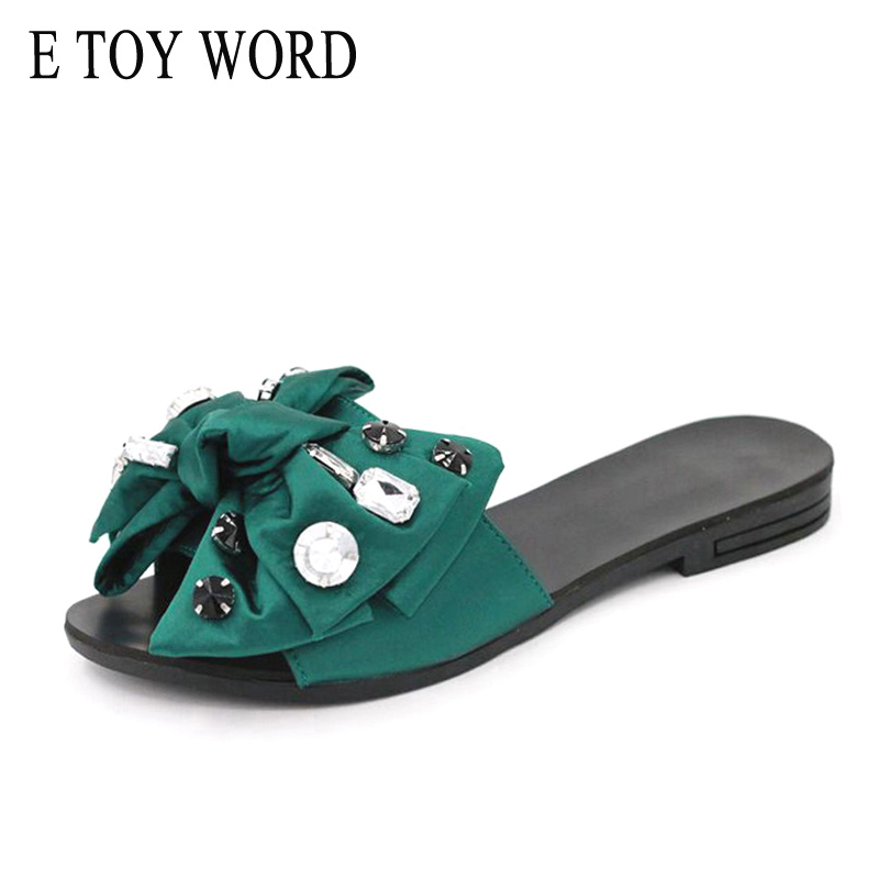 E TOY WORD 2018 Beach Slides Fashion Solid Women Shoes Summer Sweet Rhinestone Butterfly-knot Flat Open-Toe Women Slippers summer woman slippers outdoor butterfly knot decoration fashion slides for ladies flat beach shoes women slippers footwear