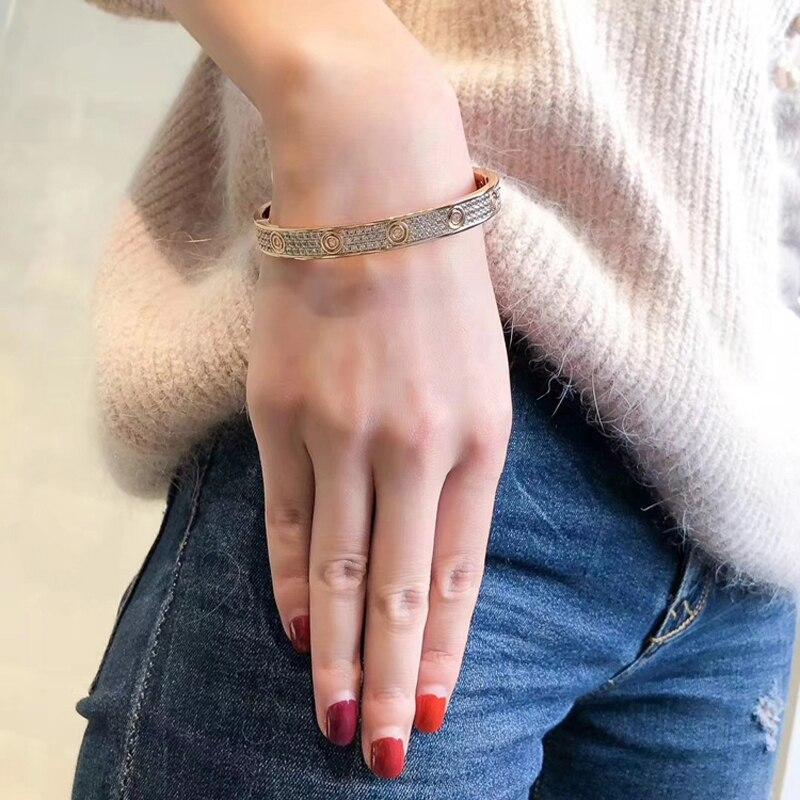 Titane acier cubique zircone Micro pavé pierre pleine vis Bracelets amour Bracelets hommes femmes Bracelet Femme livraison gratuite - 5