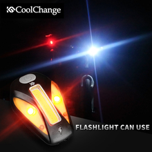 Compare Prices CoolChange mountain bike headlight taillight road bike riding equipment accessories USB charging Bicycle warning lights