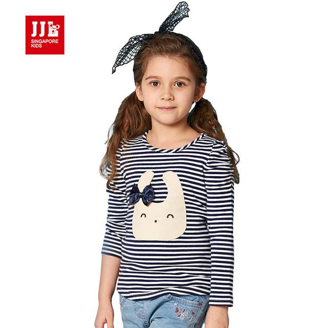Bebé ropa de las muchachas muchachas de la historieta de impresión de manga larga camiseta de los niños ropa de rayas camiseta de 2016 niños de la marca tops 4-11y