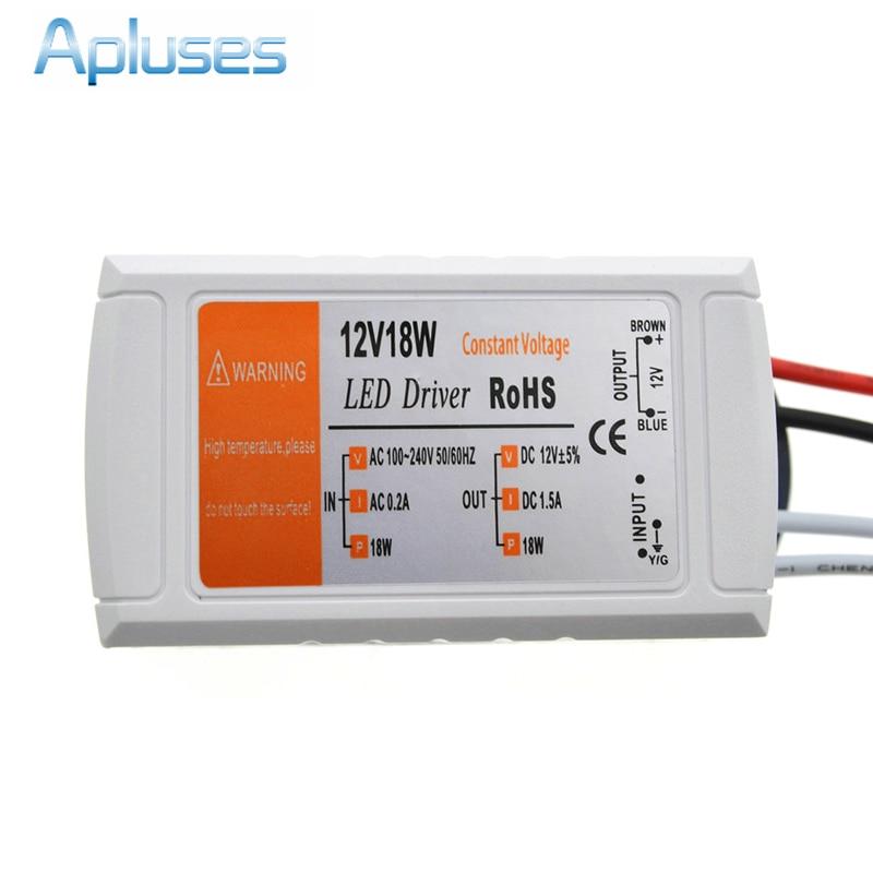 12 V 1.5A 18 W alimentation ca/DC adaptateur transformateurs interrupteur pour bande de LED RGB plafonnier ampoule pilote alimentation 90 V-220 V