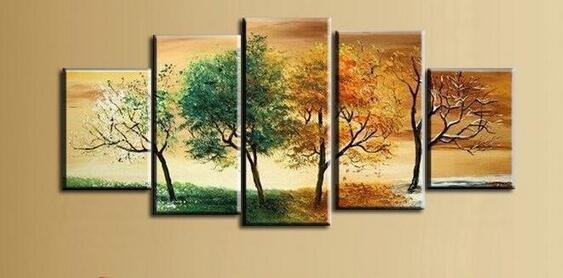 Hand Painted 4 Season Tree Oil Painting White Green Red Landscape 5 ...