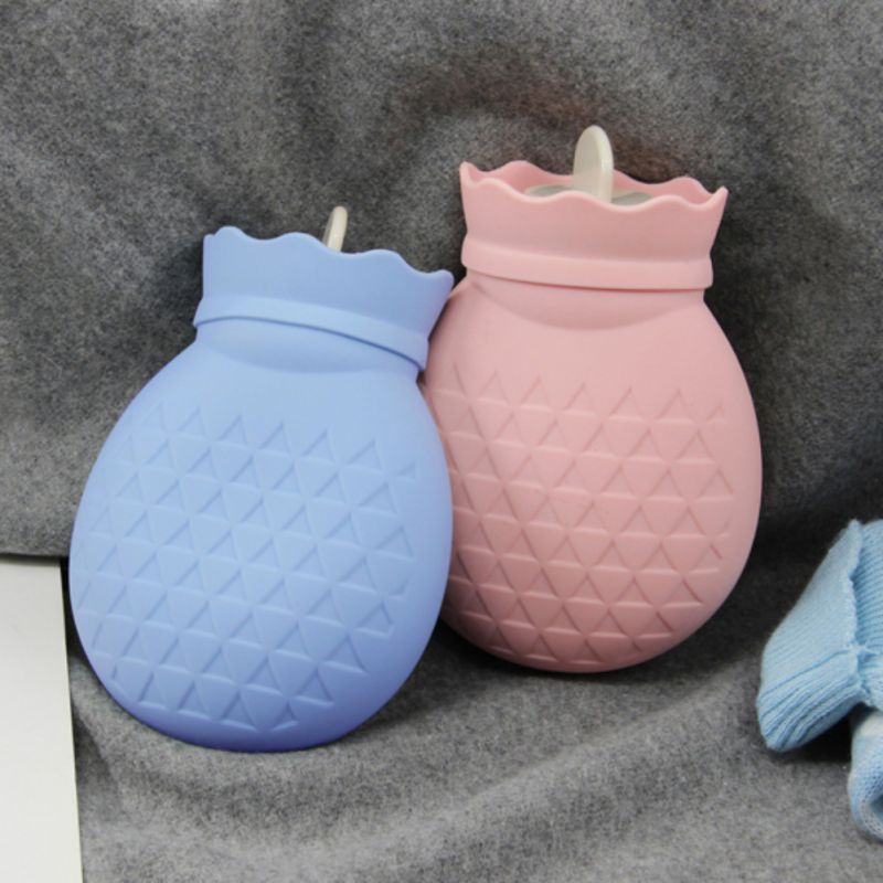 PVC Hot Water Bottle Silicone Small Fill Cute Pineapple Warm Handbags Water Injection Hot Water Bag Reading Outdoor Supplies