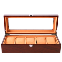Fashion 5 Grid Watch Box luxury wood Display Case Watch Box for Jewelry Winder Storage Organizer Holder Metal Buckle