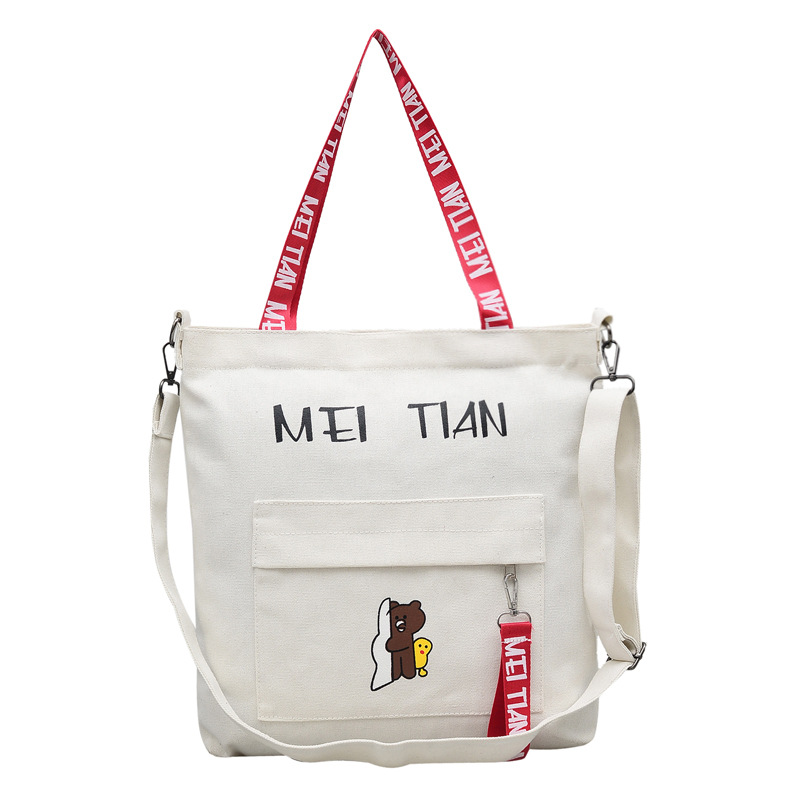New Causal Canvas Bags Letters Cartoon Printed Women Shoulder Messenger Bag Student Large Capacity Totes Eco Cloth Shopping Bag ...