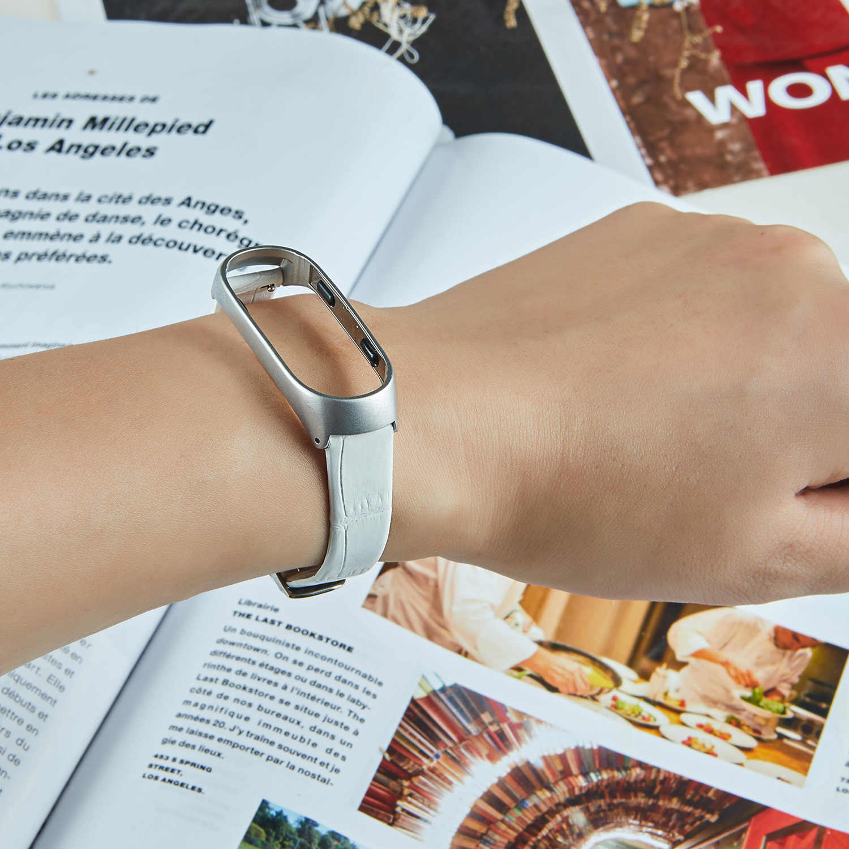 Para Xiaomi mi Band 4 Funda de cuero colorida correa de reloj inteligente para mi band 4 pulsera Cortical Black no correa para mi band 3