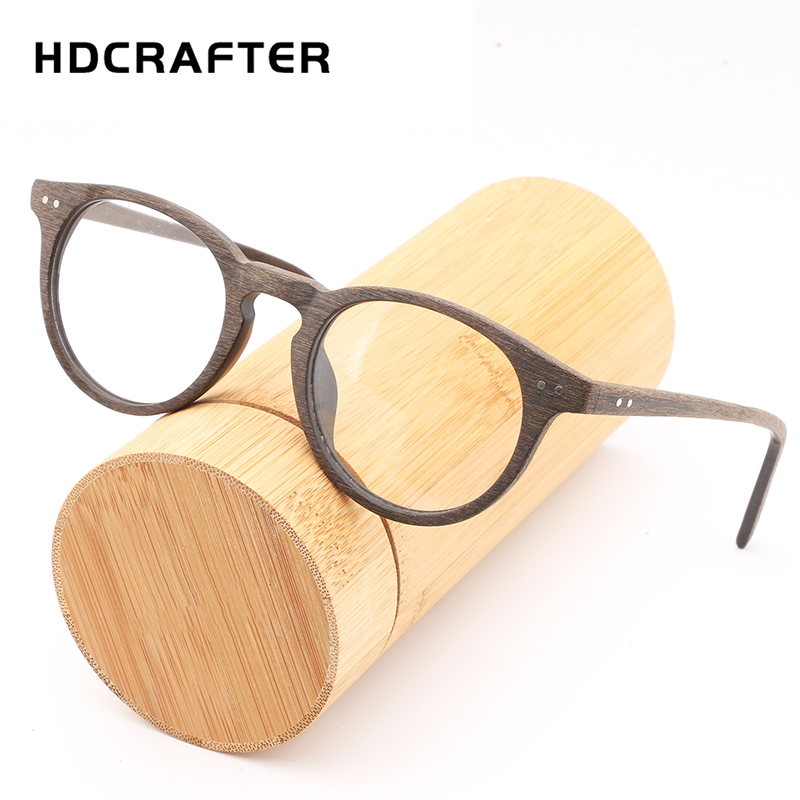 9508be0f86d HDCRAFTER Computer Eyeglasses Blue Film Protect wooden Frame Men Women Top  Quality Eyewear Wood Bamboo Glasses