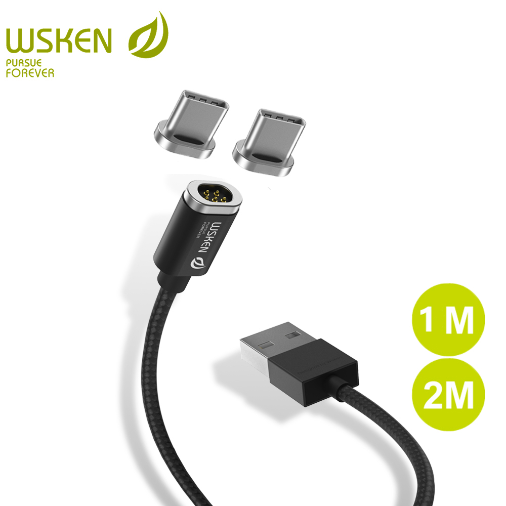 WSKEN USB Type C Cable 1 M 2 M Mini 2 Magnetic Cable for Samsung S8 Note8 USB C Type C Fast Charging Magnetic Charger USB Cable