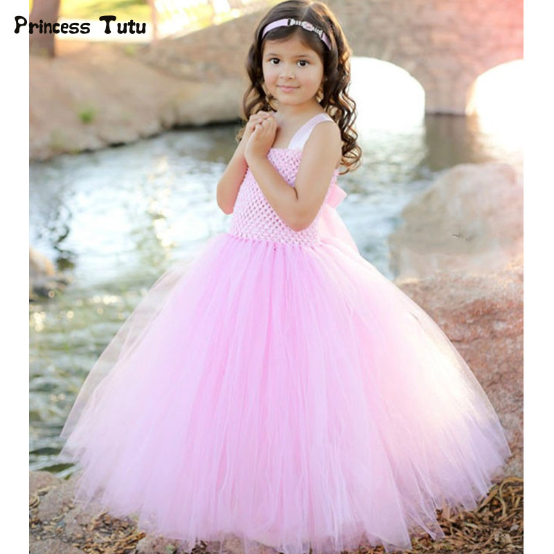 Girl Princess Tutu Dress For Children Sleeveless Tulle Flower Girl Dresses Pink Kids Ball Gown Girl Wedding Birthday Party Dress кабель usb gembird 2 0 ccf usb2 am5p 6 1 8м ccf usb2 am5p 6