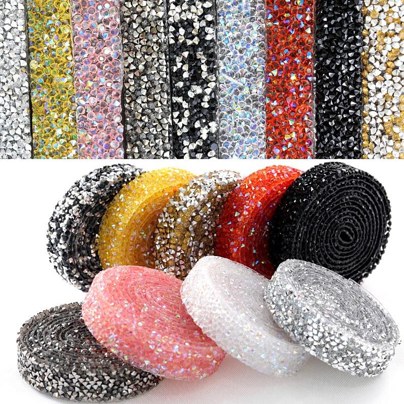 1 Yard 1cm-3cm Hot Fix Rhinestones Trimming Colorful Resin Mesh Hotfix Strass Crystal Banding Applique for Wedding Dress B1130