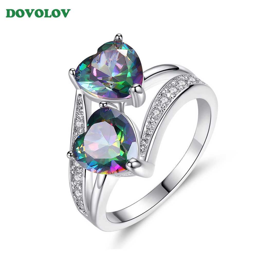 Double Heart Rainbow CZ Ring in Rhodium Plated Wedding Bands Rings For Women Accessories Engagement Jewelry Three Color D3