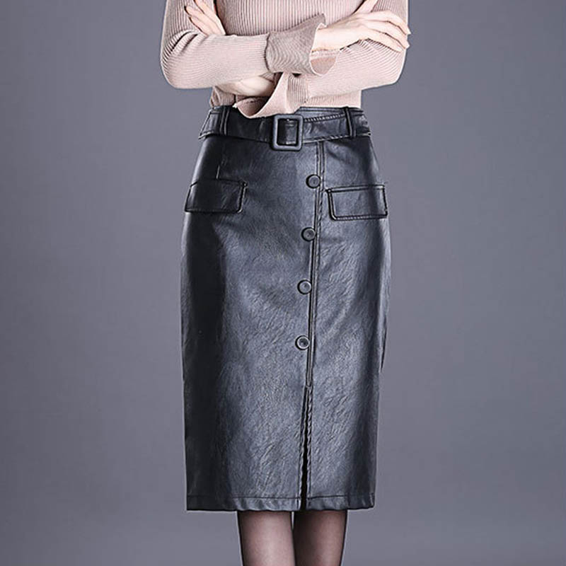 NORMOV Fashion Womens Leather Skirt Female Girl High Waist Slim Bag Hip Large Size Over The Knee Step Button Front Slit Skirt