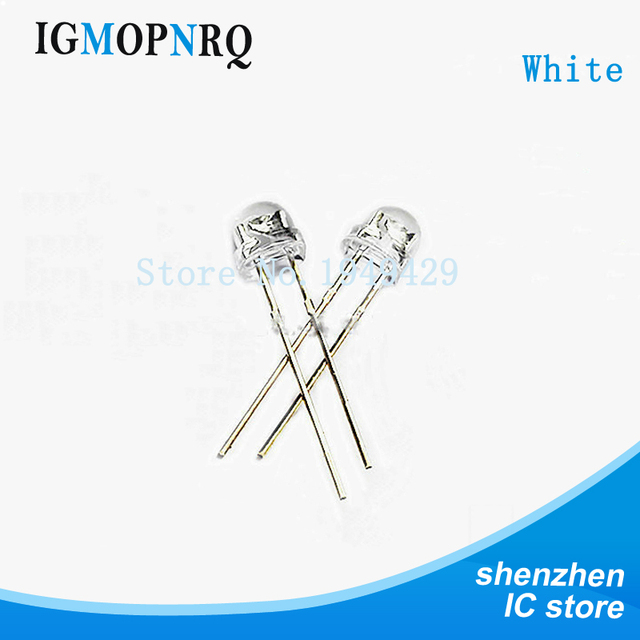100pcs lot 5mm super white light emitting diode dip led straw hat rh aliexpress com