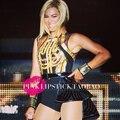 Trajes de baile Para Espectáculos Cantante Beyonce Traje Chino Antiguo Traje de La Manera Remiendo de la Gasa De Cola de Milano de Impresión Femenina Conjunto
