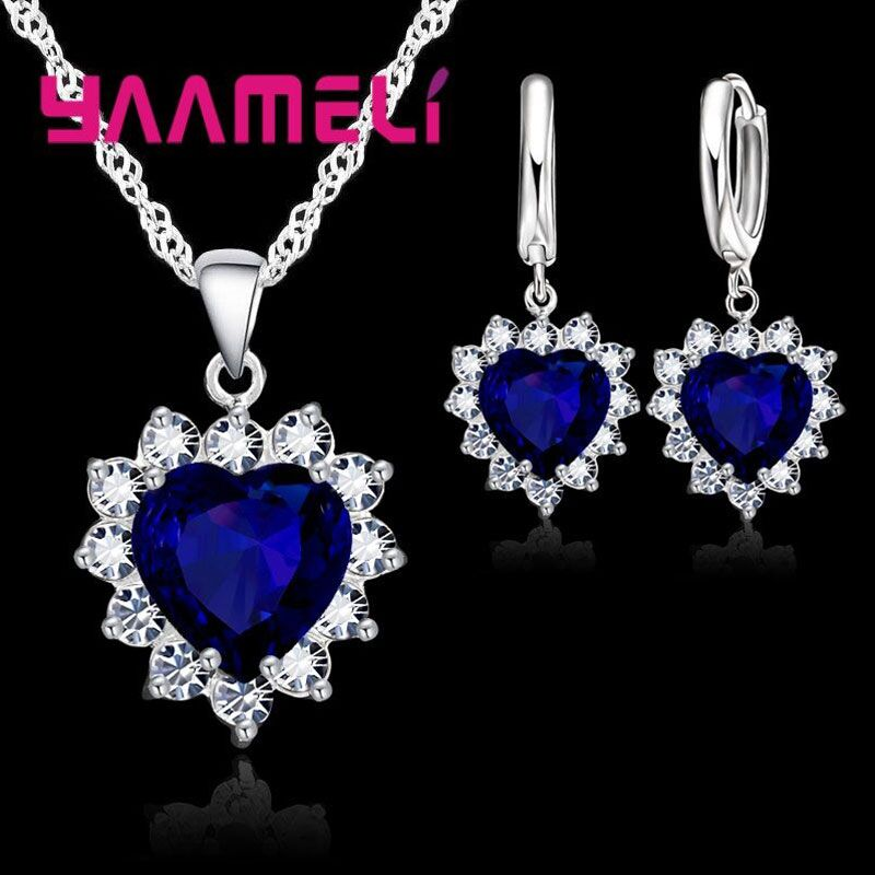 Trendy 925 Sterling Silver Jewelry Set For Women Heart CZ Stone Charm Pendants Necklaces Earrings LOVE