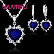YAAMELI Trendy 925 Sterling Silver Jewelry Set For Women Heart CZ Stone Charm Pendants Necklaces Earrings LOVE Anniversary Gift(China)