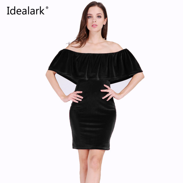 89256bbc4cf3 Idealark 2017 Velvet Bodycon Dress Ruffle Off The Shoulder Sexy club Women Short  Sleeve solid color Mini Dress WC0595