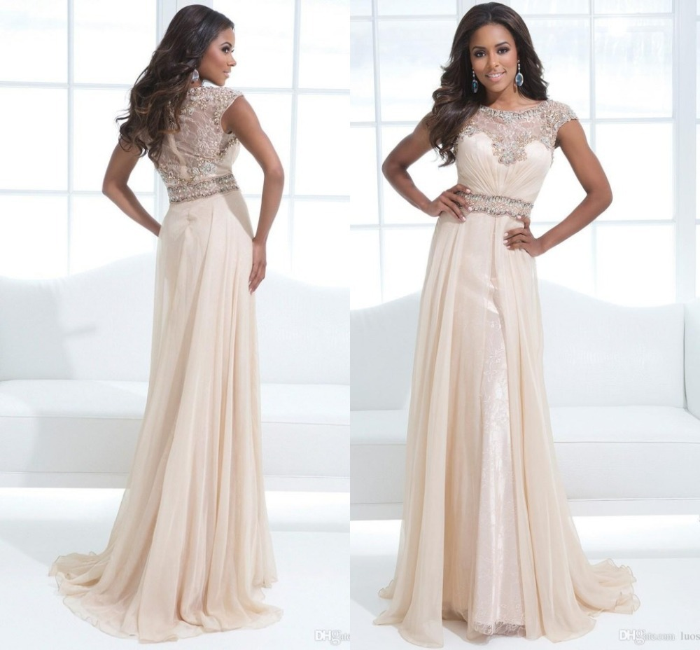 New Modest Prom Dresses With Sleeves A Line Scalloped Cap sleeve ...