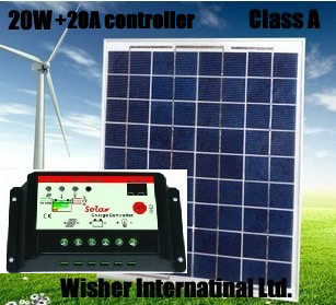 1 set of 20W polycrystalline solar panel + 20A 12v/24v solar controller, 100% Class A, for 12V battery charging,Free shipping