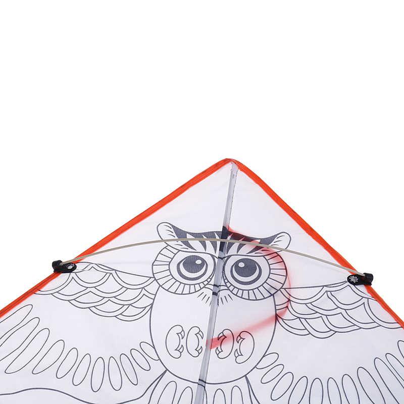 1PC Berwarna-warni untuk Anak Olahraga Lucu Layang-layang DIY Lukisan Layang-layang Terbang Lipat Outdoor Pantai Kite