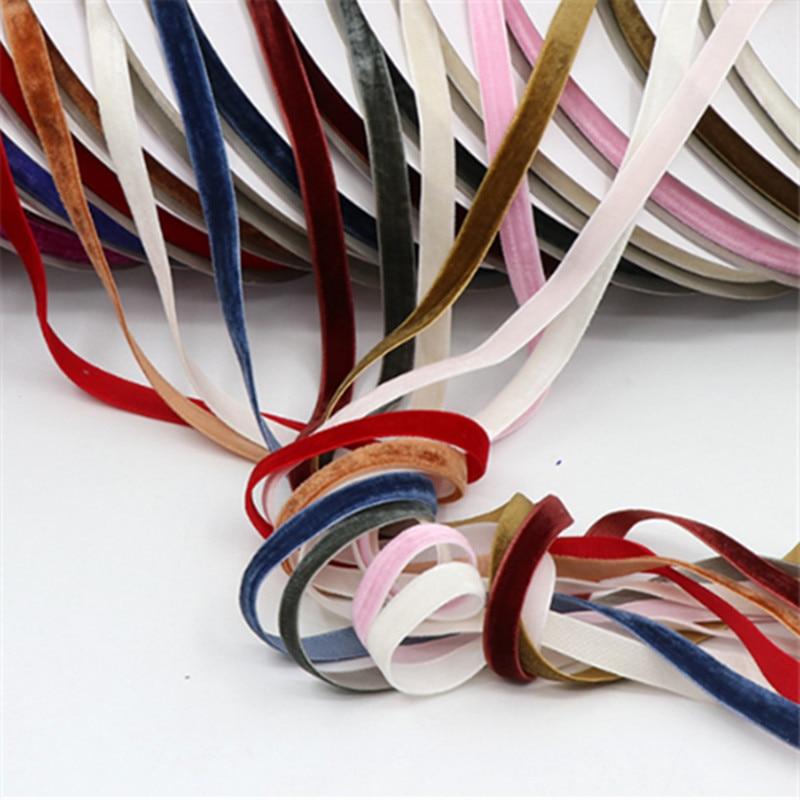 Width 1cm Length 10yards/lot Soft Comfortable Velvet Handmade Ribbon For Wedding Party Home Decoration Optional 9 colour