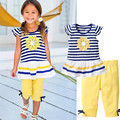 2017 New Girls Clothing Sets Baby Kids Clothes Suit Children Short Sleeve Striped T-Shirt +Pants roupas infantil meninas