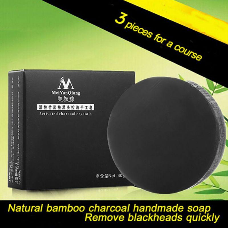 Handmade Soap Bamboo Charcoal Skin Care Treatment Natural Skin Whitening Soap Blackhead Remover Acne Treatment Control Oil