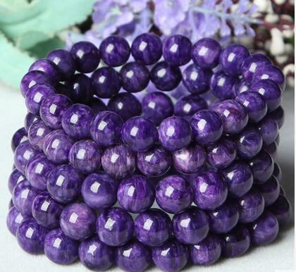 Natural Charoite Perle di alta qualità OM MANI PADME HUM Buddismo Tibet Bracciale
