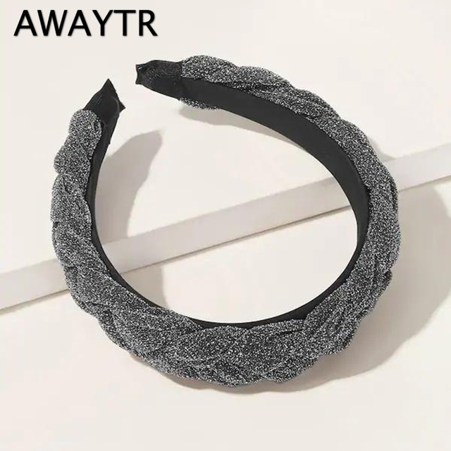 AWAYTR New Fashion Solid Braided Padded Headband for Women Ladies Hairband Girls Headwear Headdress Hair Accessories 1