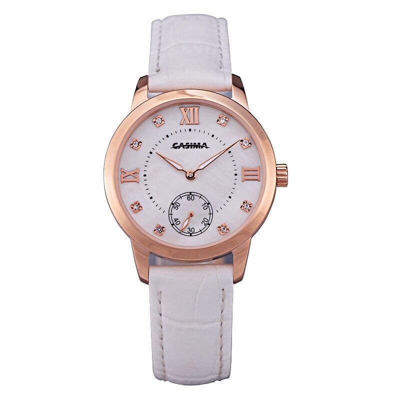 Relogio feminino marque de luxe montres femmes mode décontracté dame montre à quartz bracelet en cuir blanc étanche CASIMA #2606