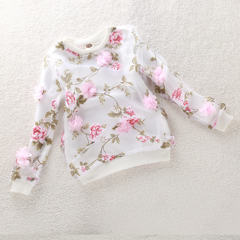 Spring and fall children clothing girls long-sleeved round neck shirt floral bottoming shirt Organza dimensional flowers Tops