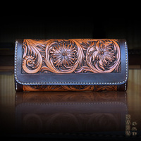 OLG YAT Leather Handmade Wallet Womens Purse Long Hasp Handbag Vegetable Tanned Cowhide Wallets Women Arabesque
