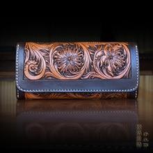 OLG.YAT leather handmade wallet womens purse long hasp handbag Vegetable tanned cowhide wallets women Arabesque Flowers bags